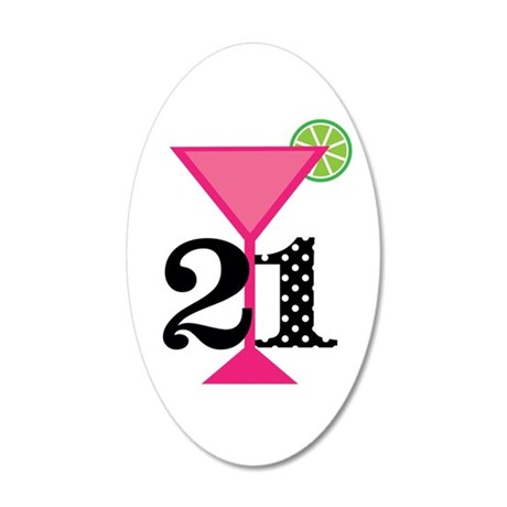 21st Birthday Pink Cocktail Wall Decal