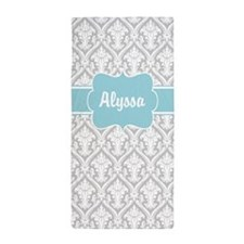Gray Blue Damask Personalized Beach Towel