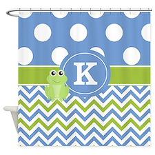 Blue Green Frog Chevron Monogram Shower Curtain