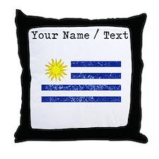 Custom Distressed Uruguay Flag Throw Pillow