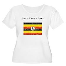Custom Distressed Uganda Flag Plus Size T-Shirt