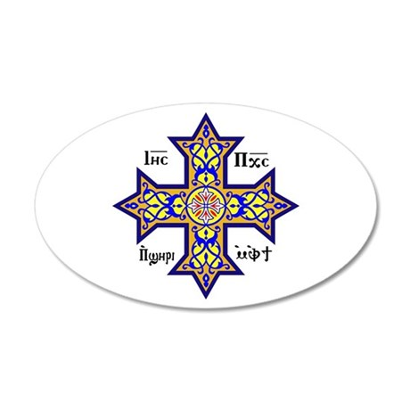 """Coptic Cross"" 35x21 Oval Wall Decal"
