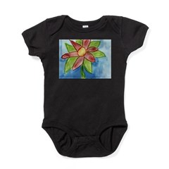 Red Flower Sketch Baby Bodysuit