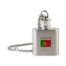 Custom Distressed Portugal Flag Flask Necklace