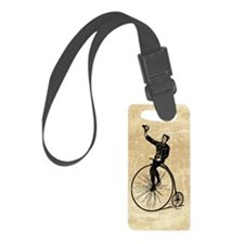 Vintage Gent On Bicycle Luggage Tag