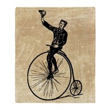 Vintage Gent On Bicycle Throw Blanket