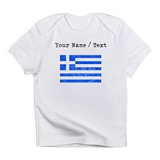 Custom Distressed Greece Flag Infant T-Shirt