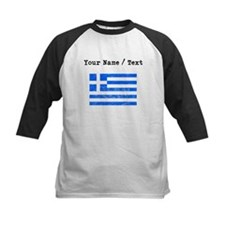 Custom Distressed Greece Flag Baseball Jersey