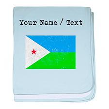 Custom Distressed Djibouti Flag baby blanket