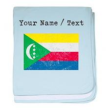 Custom Distressed Comoros Flag baby blanket