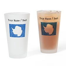 Custom Distressed Antarctica Flag Drinking Glass