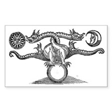 Entwined Hermetic Dragons Rectangle Decal