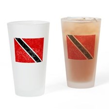 Distressed Trinidad and Tobago Flag Drinking Glass