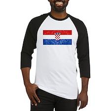 Distressed Croatia Flag Baseball Jersey