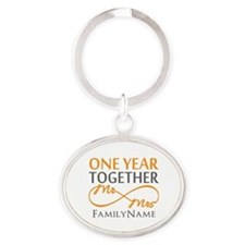 Gift For 1st Wedding Anniversary Oval Keychain