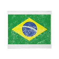 Distressed Brazil Flag Throw Blanket