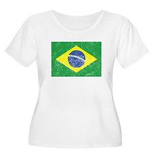 Distressed Brazil Flag Plus Size T-Shirt