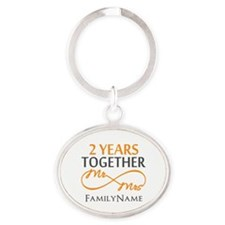 Gift For 2nd Wedding Anniversary Oval Keychain