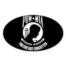 POW - MIA Flag Oval Sticker