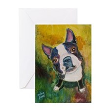 Cute Boston terrier artwork Greeting Card