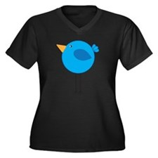 Blue Bird Cartoon Plus Size T-Shirt