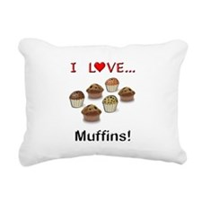 I Love Muffins Rectangular Canvas Pillow