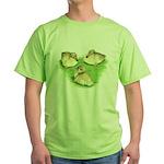 Snowy Mallard Ducklings Green T-Shirt