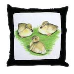 Snowy Mallard Ducklings Throw Pillow