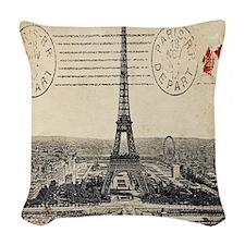 Vintage Eiffel Tower Postcard Woven Throw Pillow