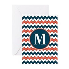 Blue Orange and White Chevron Pattern Custom Monog