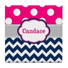 Pink Navy Dots Chevron Personalized Tile Coaster