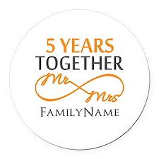 5th wedding anniversary Round Car Magnet
