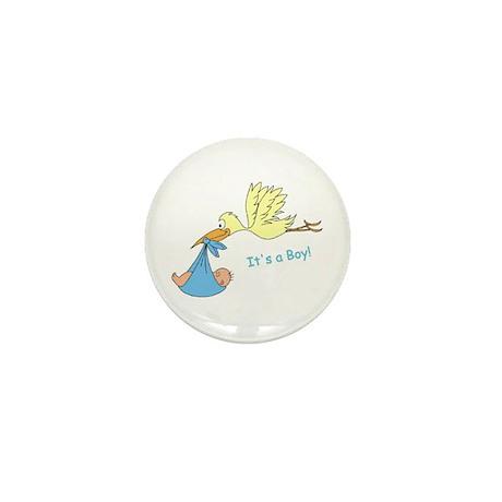 Baby Stork It's a Boy Announcement Mini Button (1