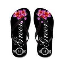 Tropical Groom Monogram Flip Flops
