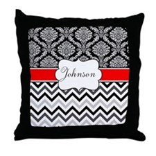 Black Red Damask Chevron Personalized Throw Pillow