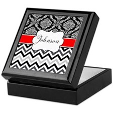 Black Red Damask Chevron Personalized Keepsake Box