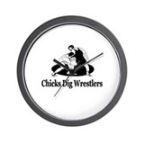 """Chicks Dig Wrestlers"" Wall Clock"