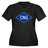 CNG Women's Plus Size V-Neck Dark T-Shirt