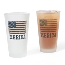 'Merica Flag Vintage Drinking Glass