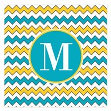 Yellow and Aqua Blue Chevron Pattern Custom Monog