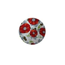 Cute Red Floral Pattern Mini Button