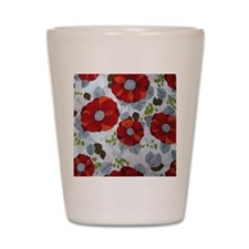 Cute Red Floral Pattern Shot Glass