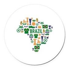 Brazil worl cup Round Car Magnet