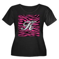 HOT PINK ZEBRA SILVER K Plus Size T-Shirt