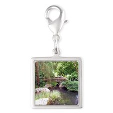 Bridge Over Pond Silver Square Charm