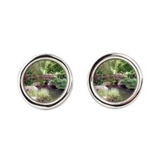 Bridge Over Pond Round Cufflinks