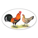Red Junglefowl Oval Sticker