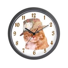 TABBY CAT IN HAT WALL CLOCK