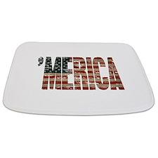 Vintage Distressed MERICA Flag Bathmat