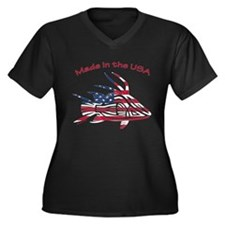Made in the Women's Plus Size V-Neck Dark T-Shirt